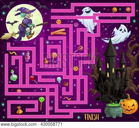 Child Find Path Halloween Maze With Monsters And Candy. Children Vector Labyrinth Game, Kids Search