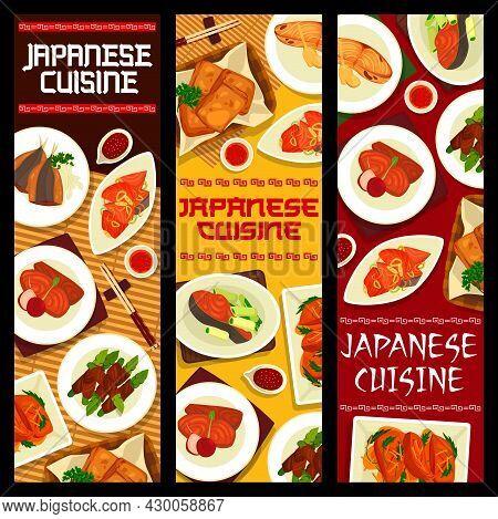 Japanese Cuisine Vector Marinated Salmon With Kayenne Pepper, Simmered Perch Nitsuke. Teriyaki Salmo