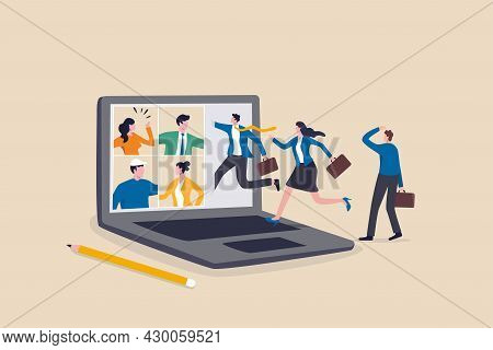 Hybrid Work, Remotely Work From Home Virtually Or Work In Office Onsite, Flexible For Employee Benef