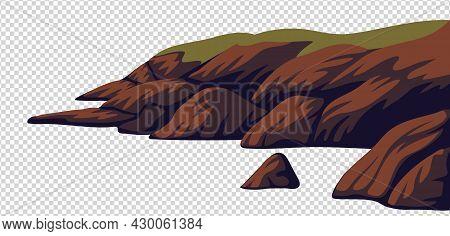 Cliff, Vector Sea Rocky Coast Isolated On White Background. Vector Illustration In Flat Cartoon Styl