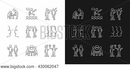 Communication Process Linear Icons Set For Dark And Light Mode. Physical Behavior. Public Speech. Ey