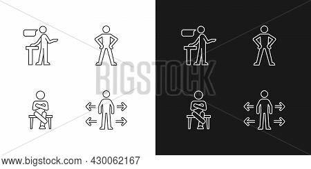 Communication Skills Linear Icons Set For Dark And Light Mode. Confident Speaking. Confidence Body L
