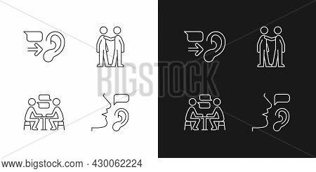 Verbal And Nonverbal Communication Linear Icons Set For Dark And Light Mode. Message Receiver. Perso