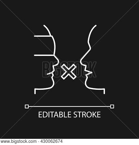 Biases White Linear Icon For Dark Theme. Prejudice Toward Group. Impact On Relationships. Thin Line