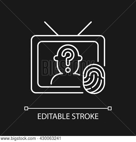 Online Investigation Show White Linear Icon For Dark Theme. True Crime Series. Criminal Mystery. Thi