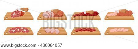 Slicing Pork Knuckle, Boiled And Smoked Sausage, Boiled Pork. A Knife Cuts Meat On A Wooden Cutting