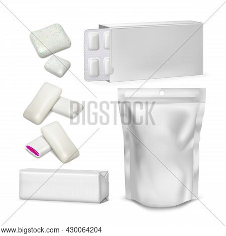 Bubble Gum Blank Packaging Collection Set Vector. Sugar-free Spearmint Chewing Bubble Gum With Jam G