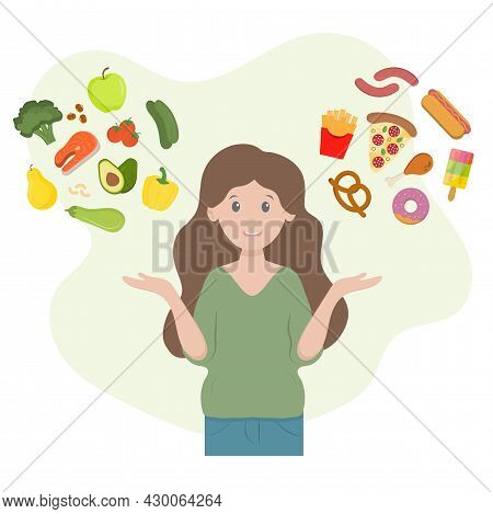 Woman Choosing Between Fresh Healthy And Unhealthy Fast Food. Vector Diet Flat Illustration. Concept