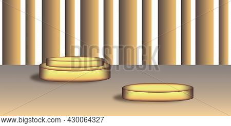 Two Golden Podiums Of Different Sizes And Heights, Background And Background. Space For Text . Podiu