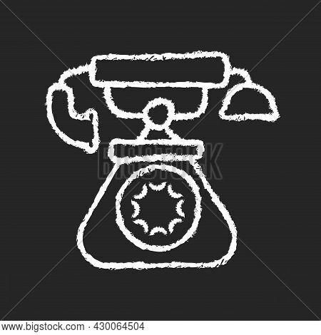 Vintage Telephone Chalk White Icon On Dark Background. Old School Rotary Phone. Candlestick Telephon