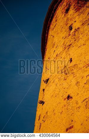 Mikulov, South Moravian Region, Czech Republic, 05 July 2021: Baroque Castle With Old Stone Tower On