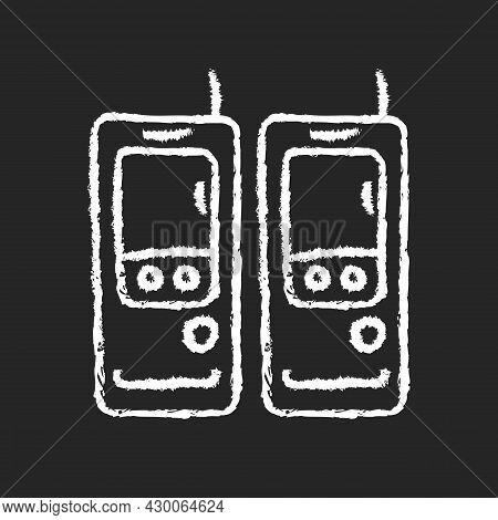 Walkie-talkie Chalk White Icon On Dark Background. Vintage Handheld Transceiver. Small Portable Devi