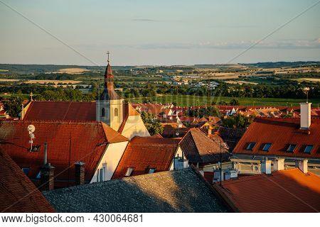 Mikulov, South Moravian Region, Czech Republic, 05 July 2021: Church Of St. John The Baptist, Panora