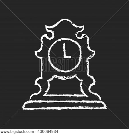 Vintage Tabletop Clock Chalk White Icon On Dark Background. Antique Table Clock. Collectible Item. R