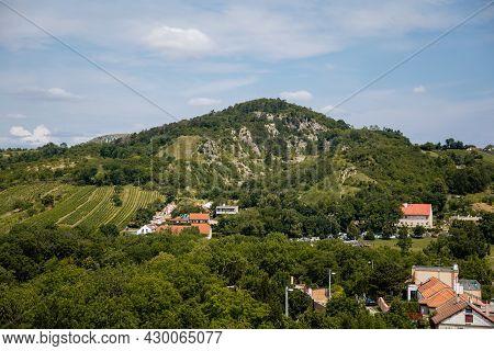 Mikulov, South Moravian Region, Czech Republic, 05 July 2021: Panoramic View From Kozi Hradek To Mou