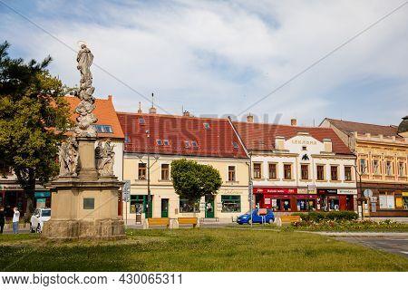 Hodonin, South Moravia, Czech Republic, 03 July 2021: Baroque Statue Of St. John Of Nepomuk At Main