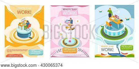 Promising Online Vacancies Employment Agency Promotion Banners Set For Remote Work. Work From Home.
