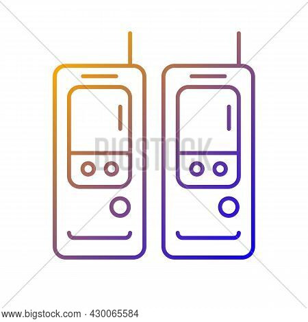 Walkie-talkie Gradient Linear Vector Icon. Vintage Handheld Transceiver. Small Portable Device For C