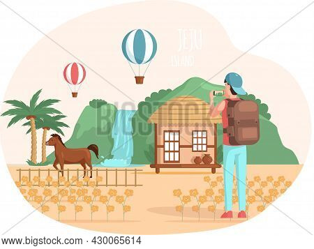 Travel And Vacation. Male Character In Trip With Backpack. Hiking Tourism, Summer Tour. Man Traveler
