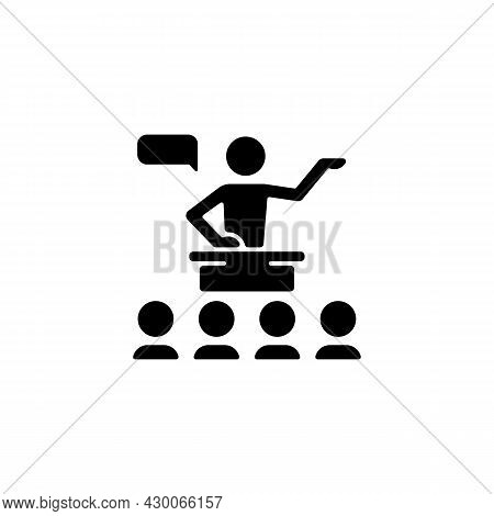 Public Communication Black Glyph Icon. Sharing Information To Audience. Conferences, Seminars. Engag
