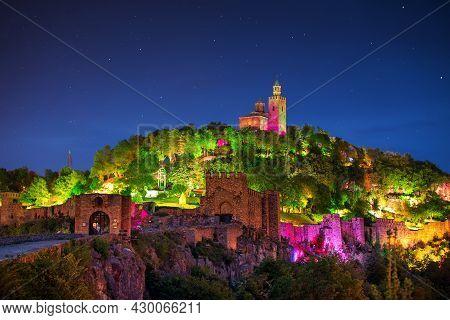 Tsarevets Fortress In Veliko Tarnovo In A Beautiful Summer Night, Bulgaria