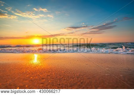 Ocean Beach And Beautiful Sunrise Over The Coast