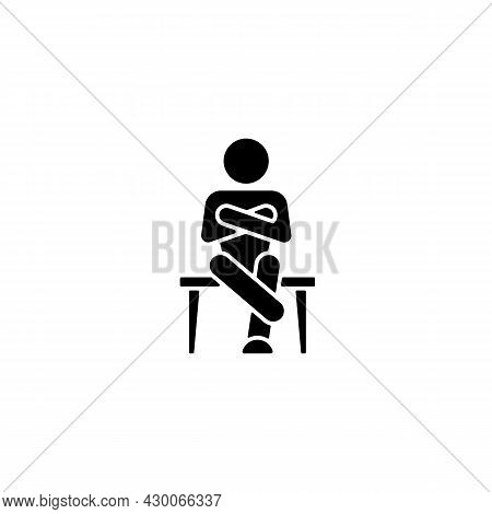 Closed Body Language Black Glyph Icon. Crossed Legs, Arms. Showing Discomfort. Person With Closed Pe