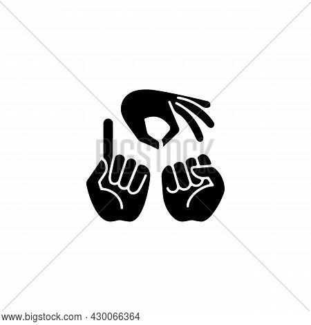 Gestures In Communication Black Glyph Icon. Hands Movement. Expressing Feelings. Non-verbal Communic