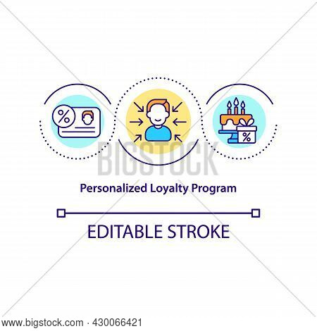 Personalized Loyalty Program Concept Icon. Clint Personal Data Collection Abstract Idea Thin Line Il