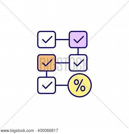 Check Marks Rgb Color Icon. Challenge Based System. Step By Step Tasks. Finish Tasks To Get Reward,