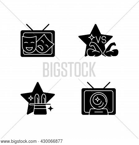 Tv Shows Genres Black Glyph Icons Set On White Space. Drama Series. Talent Contest. Mystical Serial.