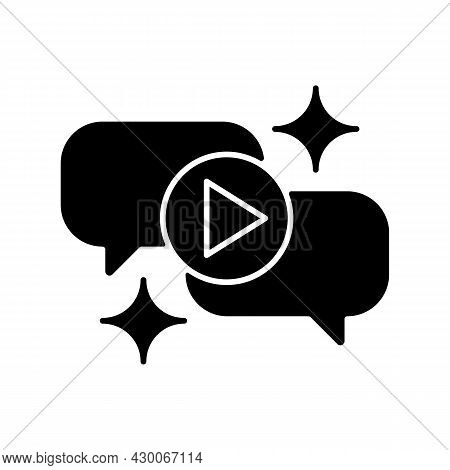 Talk Show Black Glyph Icon. Interview Broadcast For Television Entertainment. Watch Conversation In