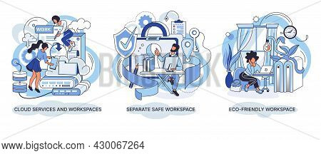 Cloud Services And Workspaces Set. Separate Safe Workspace. Space With Creative People Working Toget