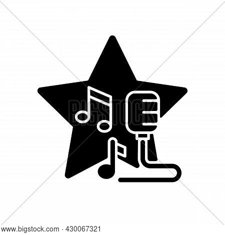 Open Microphone Shows Black Glyph Icon. Stand Up Comedy. Music Competition. Karaoke Night. Talent Sh