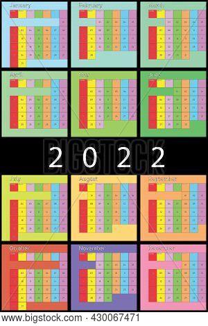 2022 Calendar Planer Organizer Colorful Light Pastel Calendar Planer Organizer Big Editable Space Co