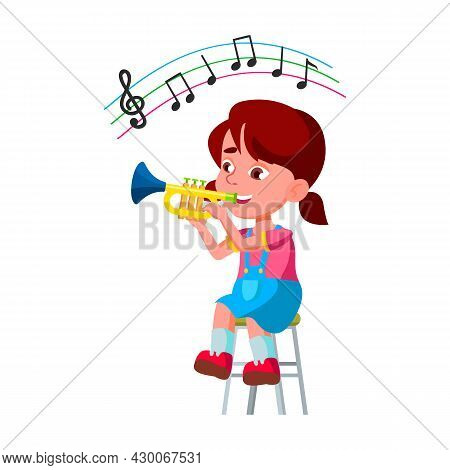 Girl Kid Playing On Trumpet In Orchestra Vector. Little Lady Sitting On Chair And Play On Trumpet Mu