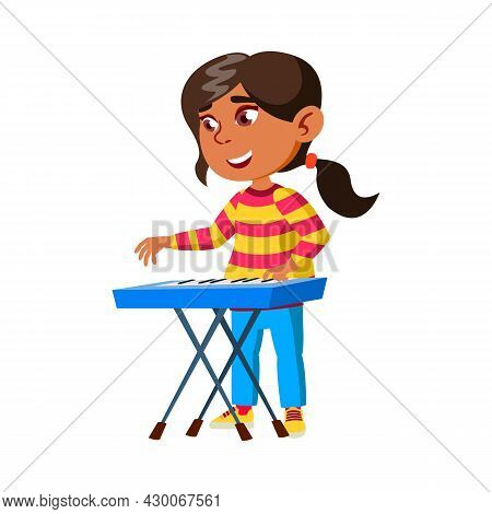 Girl Child Playing Music On Synthesizer Vector. Happy Hispanic Lady Performing Melody On Piano Synth