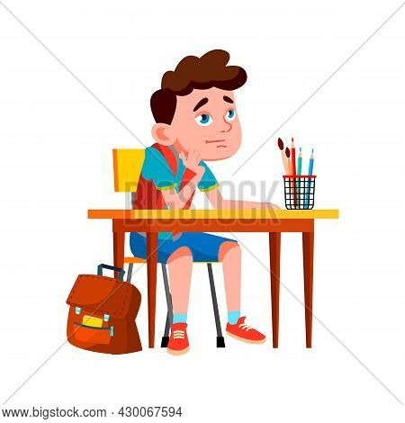 Boy Pupil On School Lesson And Thinking Vector. Caucasian Preteen Kid Sitting At Desk And Thinking A
