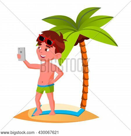 Boy Kid Photographing On Smartphone Camera Vector. Happy Smiling Caucasian Child Standing On Sandy B