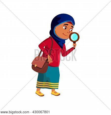 Schoolgirl Scientist Research By Magnifier Vector. Arabian Preteen School Girl Scientist Researching