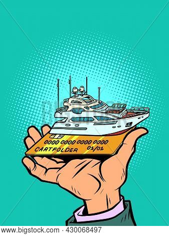 Passenger Ship Private Yacht, Sea Travel And Fishing, Credit Or Debit Bank Card