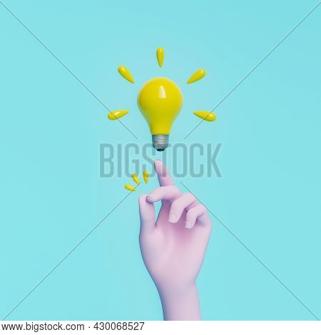 Hand Snapping Fingers With Light Bulb Floating On Top In Minimal Concept Of Great Idea. 3d Rendering