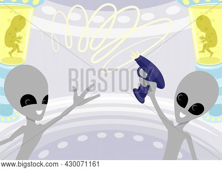 Illustration With Cute Extraterrestrial Aliens In A Spaceship.