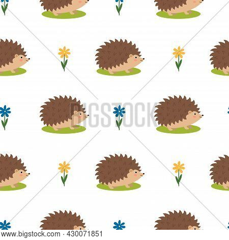 Seamless Pattern With Cute Hedgehogs And Flowers, Vector Illustration