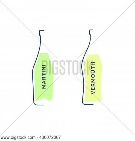 Bottle Martini And Vermouth In Linear Style On White Background. Black Thin Outline In The Form Of A