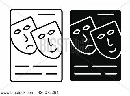 Linear Icon. Theatrical Advertising Poster. Announcement Of Premiere With Theatrical Masks. Simple B