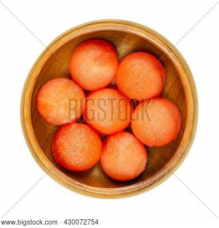 Watermelon Balls, In A Wooden Bowl. With A Melon Baller Freshly Cut Out Spheres, Ready-to-eat Pieces