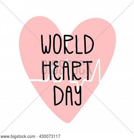 World Heart Day Card, Banner Design. Cardiovascular Disease Awareness Day. Heart With Pulse Beating