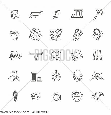 Archeology Line Icons Set. Vector Icons Collection