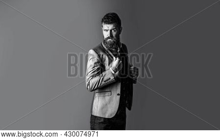 Elegant Handsome Man In Suit. Man In Suit. Male Beard And Mustache. Elegant Man In Business Suit. Ma